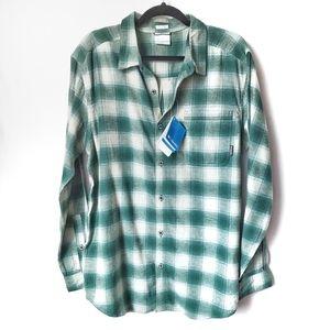 Columbia Boulder Ridge Green Flannel Shirt L